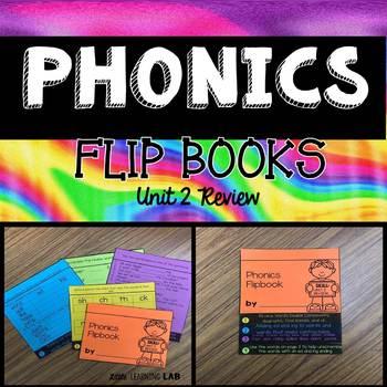 Unit 2 Review | Consonant Blends | Digraphs | Phonics Flip Book