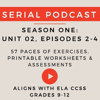 Unit 2: Serial Podcast Lesson Plans & Printable Worksheets, S.1, Episodes 2-4