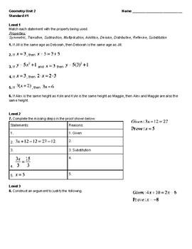 Unit 2 - Solving Equations Proofs Quiz