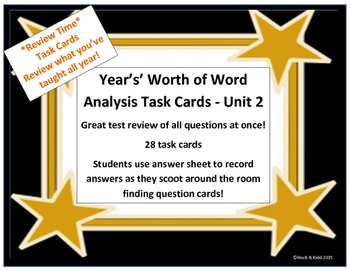 Unit 2 Task Cards - Year's Worth - Reading Review