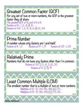 Unit 2 Vocabulary Cards for Everyday Math 4 Sixth Grade