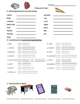 La Escuela Vocabulary Practice Packet