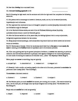 Unit 2 Vocabulary Test based on Orange Sadlier Workbook Level E