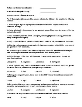Unit 2 Vocabulary Test based on Sadlier Workbook Level G