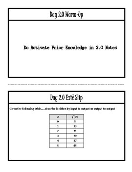 Warm-Ups and Exit Slips for all of Unit 2 (ALG 2)