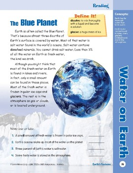 Unit 2: Water on Earth: Concepts (Skill Sharpeners:Science)