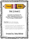Reading Wonders Unit 2 Week 2 Pencil Pairs ***WITH 37 BONUS PAGES***