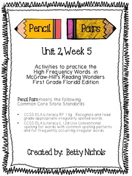 Reading Wonders Unit 2 Week 5 Pencil Pairs  ***WITH 37 BON