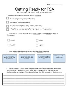 Unit 2 Week 5 - Reading Wonders- Getting Ready for the FSA Quiz