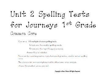 Unit 2 Weekly Spelling Tests for Journeys Grade 1