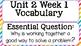Unit 2, Weeks 1-5 Reading Wonders Vocabulary