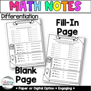 Unit 2 -Whole Number Division Guided Math Notes for Math Notebook