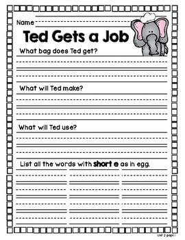 Unit 2 Wonders Decodable Reader Comprehension Worksheets for 1st Grade