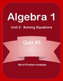 Unit 2 - Word Problem Analysis