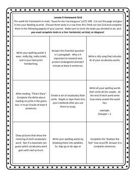 Unit 2 of HMH Journeys 5th grade Homework grid