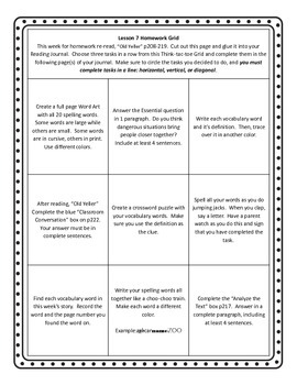 Unit 2 of HMH Journeys 5th grade Homework grid