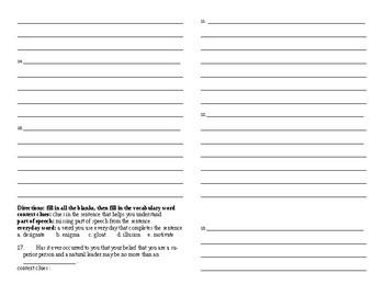 Sadlier Vocabulary Workshop Unit 3 1-10 Level A