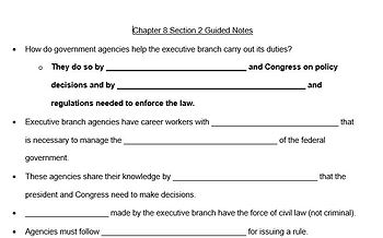 Unit 3-American Government and Civics-The Executive Branch Lesson Plans