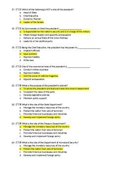 Unit 3 - Branches of Government and Federalism Test with Answer Key