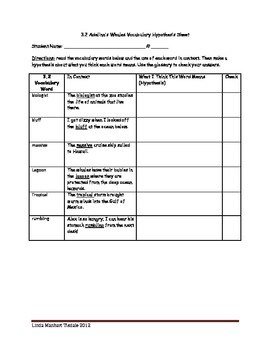 Unit 3 CCSS Vocabulary Hypothesis Sheets