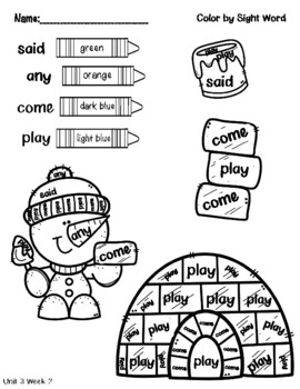 Unit 3 - Color by Sight Word - Pearson MyView