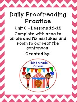 Unit 3 Daily Proofreading and Language Practice (DLP) for