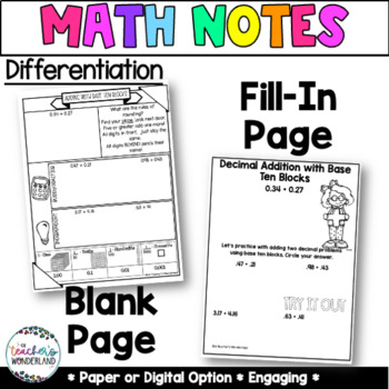 Grade 5- Unit 3 Decimal Addition and Subtraction Guided Math Notes