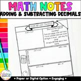 Grade 5- Adding & Subtracting Decimals Math Notes [Paper &