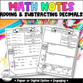 Grade 5- Unit 3 Decimal Addition and Subtraction Guided Ma