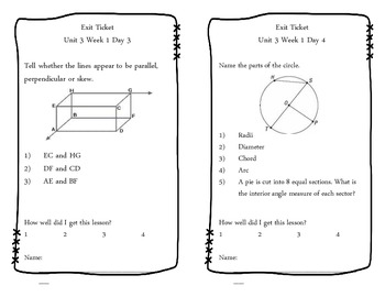 Unit 3 Exit Tickets (Geometry and Measurement)