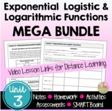 Exponential Logarithmic Functions MEGA Bundle with Lesson Videos (Unit 3)