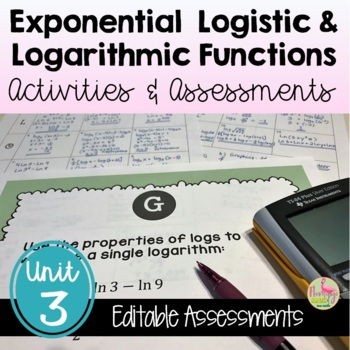 PreCalculus Exponential Logistic and Logarithmic Review & Assessment Bundle