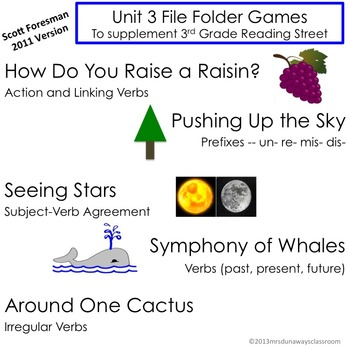 Unit 3 File Folder Games:  3rd Grade Reading Street (2011)
