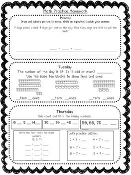 Unit 3 First Grade Homework Packet- McGraw Hill's Reading Wonders