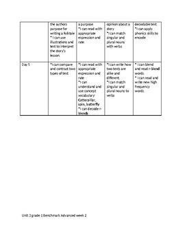 Unit 3 Grade 1 Benchmark Advanced I can statements