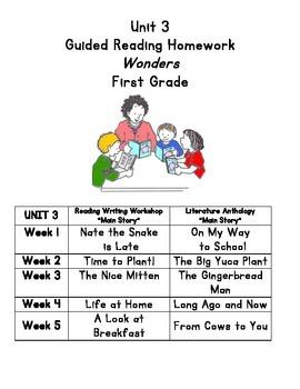Unit 3 Guided Reading Homework WONDERS Grade 1