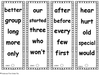 Unit 3 HFW Fluency Fans- Second Grade Wonders