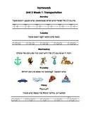 Unit 3 Kindergarten Treasures Reading Series Homework