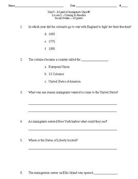 Unit 3 Land of Immigrants Study Guide/Quizzes Florida Social Studies McGraw-Hill