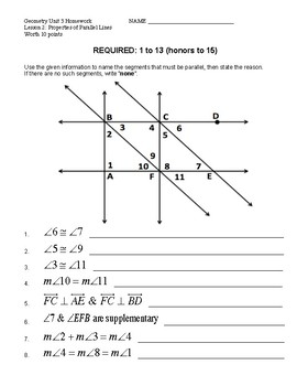 Unit 3 Lesson 3 Proving Parallel Lines Worksheet Tpt Parallel And Intersecting Lines Unit 3 Lesson 3 Proving Parallel Lines Worksheet