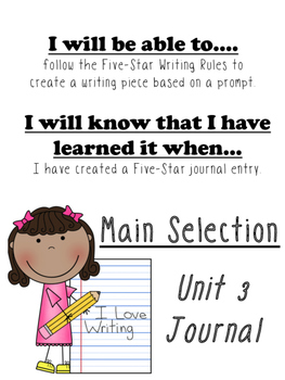 Unit 3 Main Selection Differentiated Journal- Grade 1 Reading Street 2013