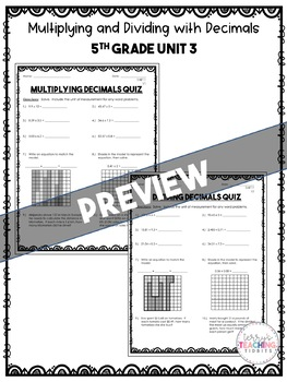 Unit 3 Math Resources - 5th Grade - Multiplying and Dividing Decimals
