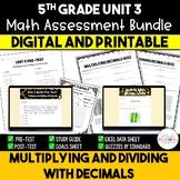 Multiplying and Dividing Decimals Math Assessment Bundle {5th Grade Unit 3}