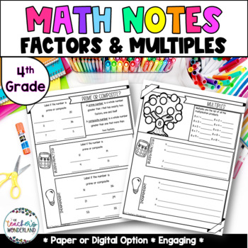 Unit 3- Multiplication Guided Math Notes for Math Notebook- Grade 4