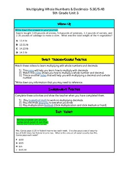 Unit 3- Multiplying Whole Numbers & Decimals- 5th Grade Hyperdoc