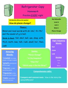 Level A Reading Street Unit 3 My Sidewalks refrigerator page weeks 1-6