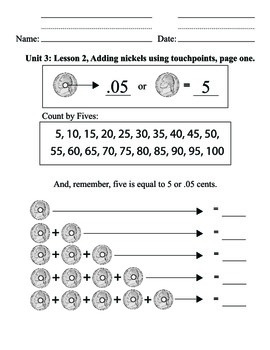 Coin ID Nickels - Unit 3: Counting, Addition, Math, Money, Life skills