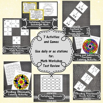 Unit 3-Operations w/Positive Fractions and Decimals-Activities-6th GradeMathTEKS