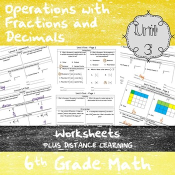 Unit 3 - Operations with Fractions and Decimals - 6th Grade Math TEKS