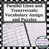 Parallel Lines - Unit 3: Parallel Lines and Transversals - Vocab Assig. & Puzzle